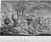 Engraving celebrating the signing of the Treaty of Amiens 25 March 1802, peace treaty between Britain and France.