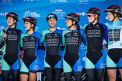 May 18, 2018 - South Lake Tahoe, California, U.S - Friday, May 18, 2018.The Hagens Berman | Supermint Pro Cycling (USA).team is introduced prior to the start of Stage 2 of the Amgen Tour of California Women's Race empowered with SRAM, which starts and finishes near Heavenly Ski Resort in South Lake Tahoe, California...BIB, NAME, NAT.111, LUEBKE, USA.112, ALLISON, USA.113, CERRA, USA.114, RACHETTO, USA.115, TEDDERGREEN, USA.116, WILLIAMS, USA (Credit Image: © Tracy Barbutes via ZUMA Wire)