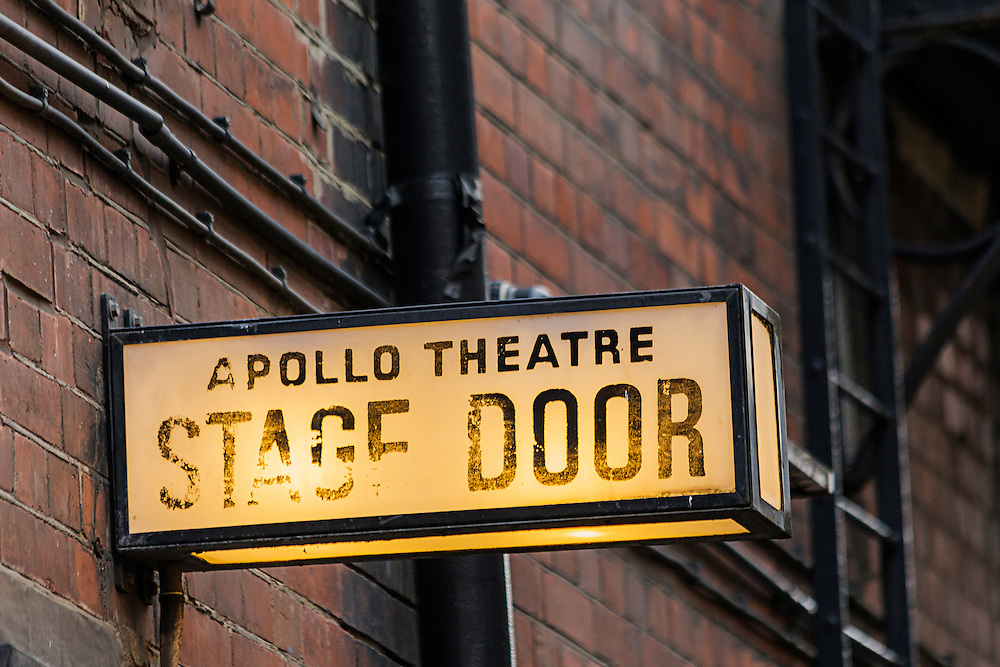 The stage door sign outside the Apollo Theatre in London's West End