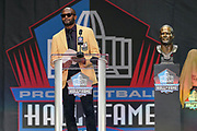 Aug 3, 2019; Canton, OH, USA; Champ Bailey speaks during the Pro Football Hall of Fame Enshrinement at Tom Benson Hall of Fame Stadium. (Robin Alam/Image of Sport)
