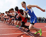 Britt Kaukeinen of Irondequoit takes off at the start of the boys 800-meter run begins at the His and Her track and field invitational at Penfield High School on Saturday, April 26, 2014.
