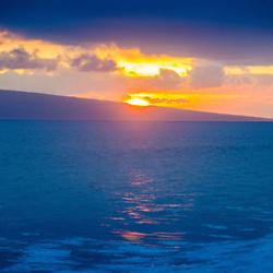 Sunset Over Lanai and Maui Channel from Lahaina, Maui, Hawaii, US