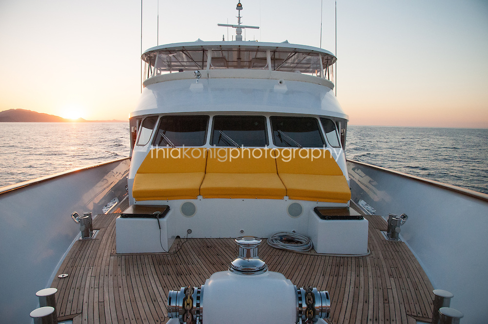 Looking back to the bridge of a yacht from bow, Sea of Cortez, Mexico. The Ocean Pearl is a 115ft M/V.