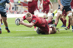 September 30, 2017 - Limerick, Ireland - John Ryan of Munster scores a try during the Guinness PRO14 Conference A Round 5 match between Munster Rugby and Cardiff Blues at Thomond Park in Limerick, Ireland on September 30, 2017  (Credit Image: © Andrew Surma/NurPhoto via ZUMA Press)