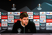 Rangers Manager Steven Gerrard discusses team news with the assembled press during the Rangers Press Conference at Ibrox, Glasgow, Scotland on 3 October 2018. Picture by Colin Poultney.