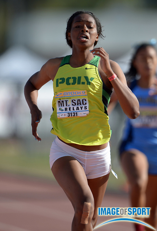 Apr 19, 2014; Walnut, CA, USA; Ariana Washington of Long Beach Poly wins the girls 200m in 23.50 in the 56th Mt. San Antonio College Relays.
