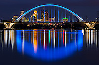 Lowry Avenue Bridge at night, Minneapolis, Minnesota, USA.