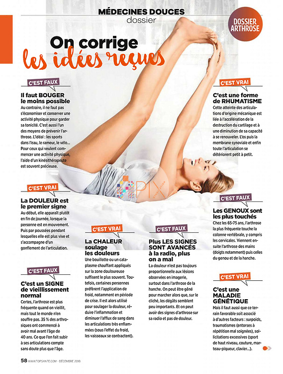The experts correct some myths about osteoarthritis in the latest issue of Top Santé magazine in France, perfectly illustrated by our happy, healthy and bendy lifestyle image!