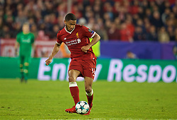 SEVILLE, SPAIN - Tuesday, November 21, 2017: Liverpool's Joe Gomez during the UEFA Champions League Group E match between Sevilla FC and Liverpool FC at the Estadio Ramón Sánchez Pizjuán. (Pic by David Rawcliffe/Propaganda)