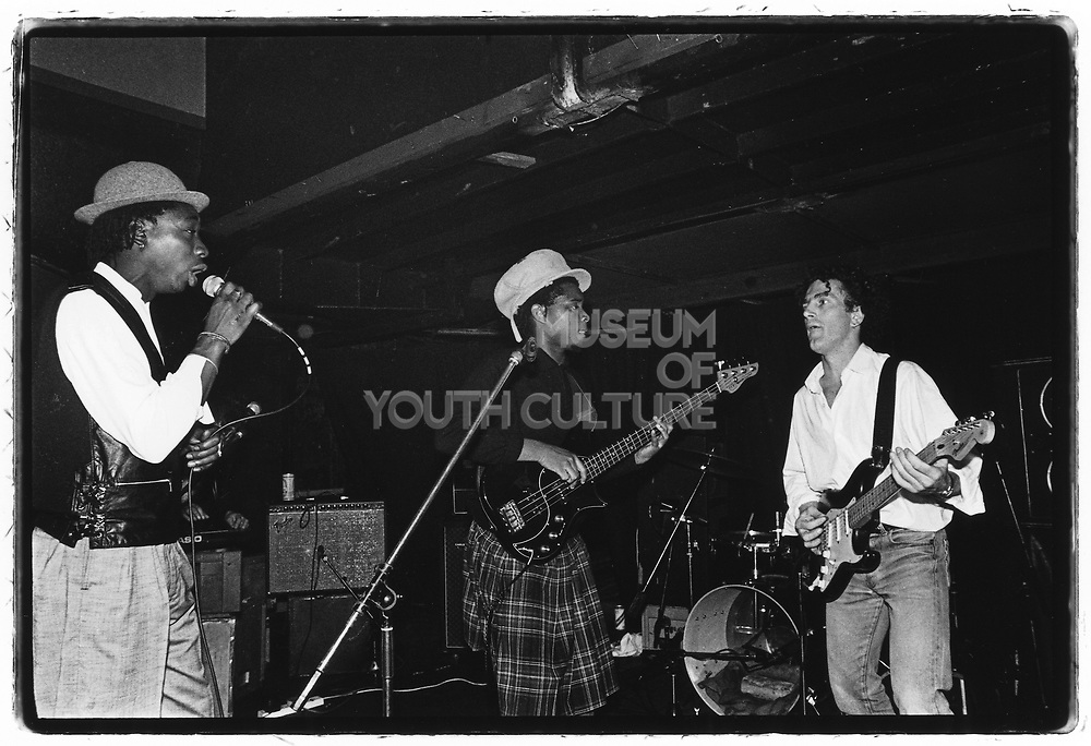 John Beales' Wedding, Thekla, Bristol, 1985 (Sean Oliver on bass (Rip, Rig & Panic), Roger pomfrey on guitar, Bruce Smith on drums (Pop Group), Nellee on the cut, MC Willie Wee) (3)