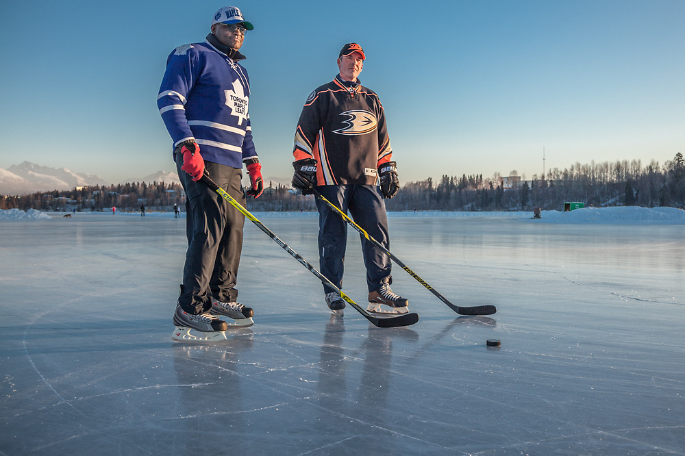 "Canadian childhood friends Tes Joseph, of Toronto, and Jamie Lynch, of San Diego, test the ice at Westchester Lagoon.  ""This place is fabulous; the food is great, the people are friendly, and this ice is nirvana!"""