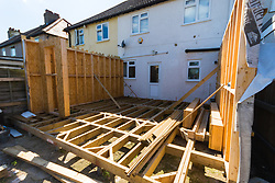 The timbers of an extension Alan Street was having built for his Hornchurch, Essex home, only for the company constructing it to cease trading, leaving him thousands of pounds out of pocket and with planning headaches to solve after the builders failed to seek the proper permissions for the piles on which the structure would stand. Hornchurch, Essex, July 29 2019.