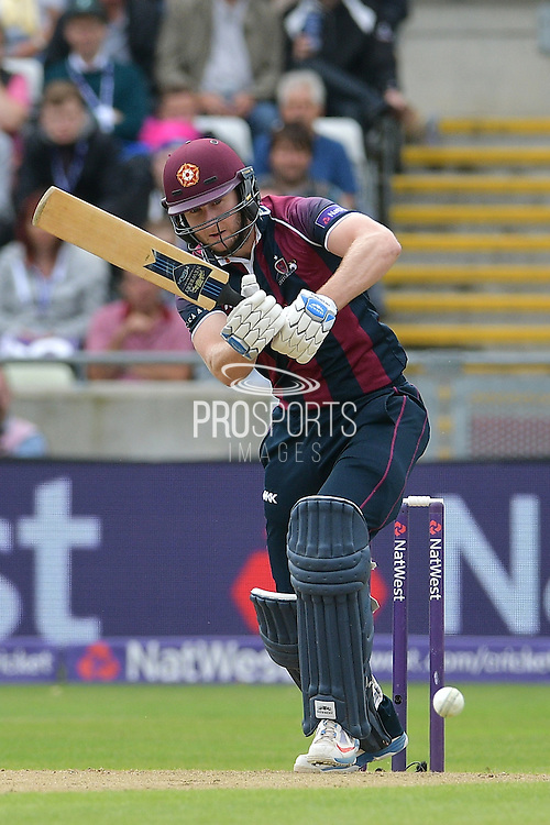 Alex Wakely on drives Harry Gurney (not shown) during the NatWest T20 Finals Day 2016 match between Nottinghamshire County Cricket Club and Northamptonshire County Cricket Club at Edgbaston, Birmingham, United Kingdom on 20 August 2016. Photo by Simon Trafford.