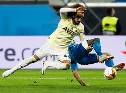 February 21, 2019 - Saint Petersburg, Russia - Sebastian Driussi (R) of FC Zenit Saint Petersburg and Sadik Ciftpinar of Fenerbahce SK vie for the ball during the UEFA Europa League Round of 32 second leg match between FC Zenit Saint Petersburg and Fenerbahce SK on February 21, 2019 at Saint Petersburg Stadium in Saint Petersburg, Russia. (Credit Image: © Mike Kireev/NurPhoto via ZUMA Press)