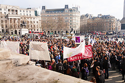 London, February 15th 2015. Londoners demonstrate in solidarity with Greeks in their fight against the EU's insistance that they maintain their programme of austerity. PICTURED: Hundreds flood the north terrace of Trafalgar Square.