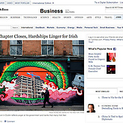 "Screengrab of ""As Bailout Chapter Closes, Hardships Linger for Irish"" published in The New York Times"