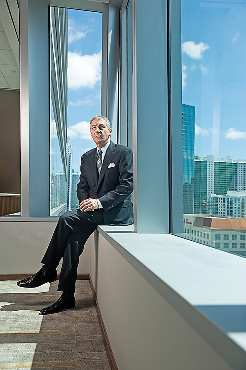 Paul Singerman poses at his offices in Miami, FL. Singerman is one of the nation's leading restructuring and bankruptcy attorneys. Among other high profile matters, Singerman represents the Chapter 11 Trustee in the Rothstein, Rosenfeldt & Adler case, a law firm that went into bankruptcy after revelations of a massive Ponzi scheme run by Scott Rothstein. Singerman began his career in banking and lending work before taking on a bankruptcy focus when the economy soured in the mid-1980s..Photo by Josh Ritchie