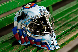 Andrej Hocevar's helmet at Slovenian National Team First Ice Hockey Practice for IIHF World Championship in Bratislava, on April 11, 2011 at Hala Tivoli,  Ljubljana, Slovenia. (Photo By Matic Klansek Velej / Sportida.com)