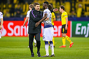 Tottenham Hotspur Manager Mauricio Pochettino celebrates at full time with Tottenham Hotspur defender Davinson Sánchez (6) during the Champions League round of 16, leg 2 of 2 match between Borussia Dortmund and Tottenham Hotspur at Signal Iduna Park, Dortmund, Germany on 5 March 2019.