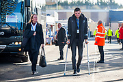Hearts player John Souttar arrives on crutches before the Betfred League Cup semi-final match between Heart of Midlothian FC and Celtic FC at the BT Murrayfield Stadium, Edinburgh, Scotland on 28 October 2018.