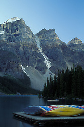 lake moraine; alberta canada; canoe; water; mountain