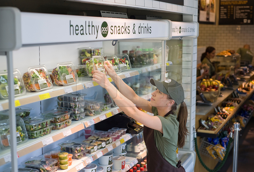 F.A.O Andrew Mitchell, Sunday Times Picture Desk. London, UK. 06/05/2011. Pod Healthy Snacks and Drinks in Exchange Square London. Pictured is manager Carmen Filip. Photo credit should read: Ben Cawthra.