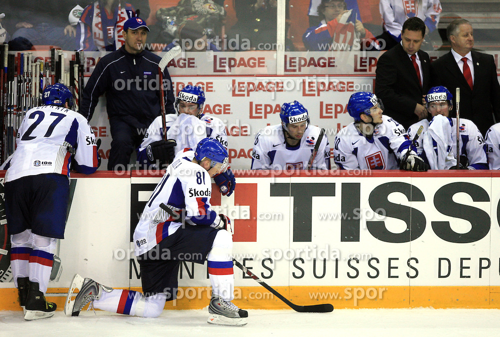 Team Slovakia before penalty shots at ice-hockey game Slovenia vs Slovakia at second game in  Relegation  Round (group G) of IIHF WC 2008 in Halifax, on May 10, 2008 in Metro Center, Halifax, Nova Scotia, Canada. Slovakia won after penalty shots 4:3.  (Photo by Vid Ponikvar / Sportal Images)