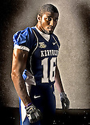 Denver Bronco and former UK great, Wesley Woodyard during UK football media day on Friday August 3, 2007 in Lexington , Ky. Photo by Mark Cornelison | Staff  3687