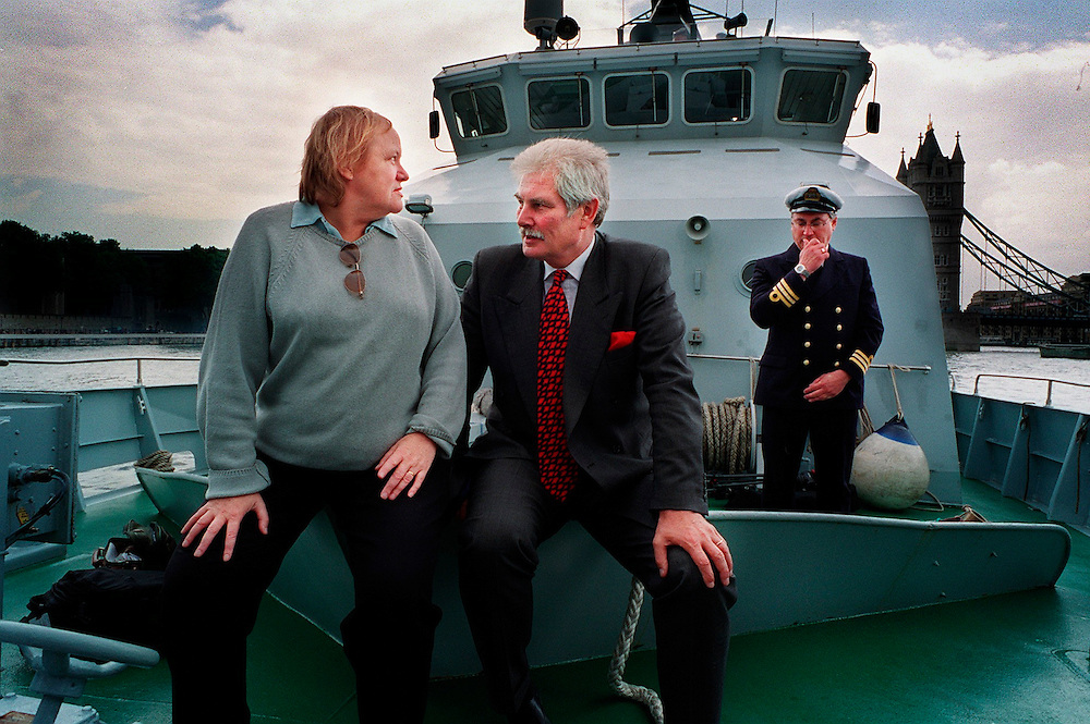 Mo Mowlam and Keith Helliwell Drugs Czar take a trip on a Customs ship under Tower Bridge