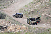 Israel, Upper Galilee Military vehicles patrol the Lebanese border