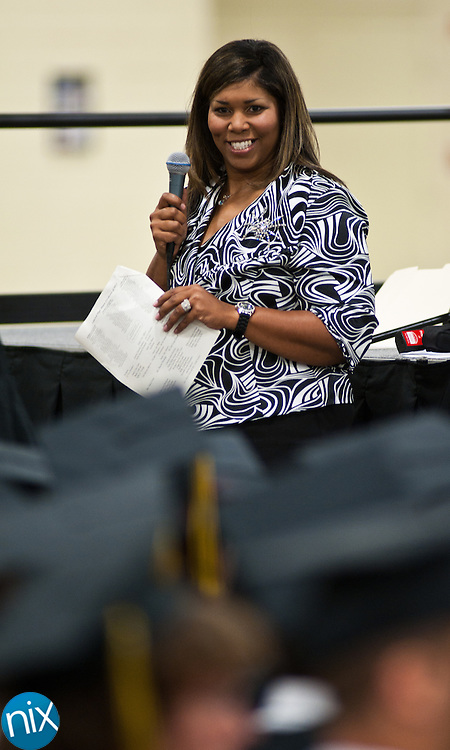 Concord High School principal Carla Black talks to her graduates prior to Commencement ceremonies Saturday afternoon at the Cabarrus Arena & Events Center. (Photo by James Nix)