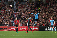 October 08, 2016: Sydney FC midfielder Milos NINKOVIC (10) heads the ball at Round 1 of the 2016 Hyundai A-League match, between Western Sydney Wanderers and Sydney FC, played at ANZ Stadium in Sydney. Sydney FC won the game 4-0.
