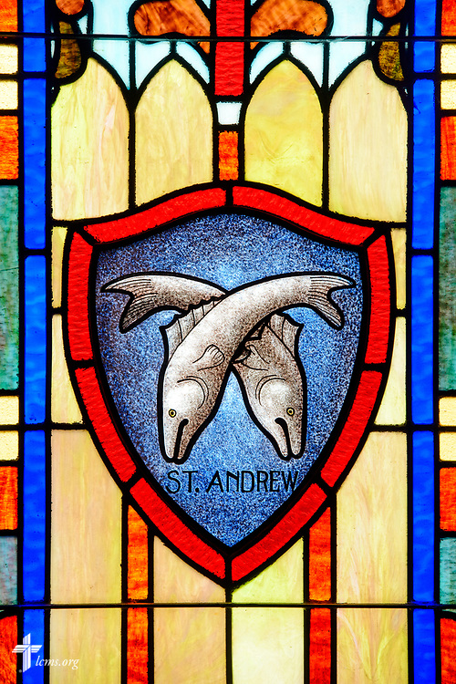 Stained glass depicting St. Andrew at St. Paul Lutheran Church, San Antonio, Texas on Wednesday, Aug. 2, 2017, in San Antonio. LCMS Communications/Erik M. Lunsford