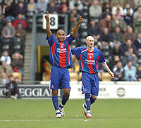Photo: Leigh Quinnell.<br /> Derby County v Crystal Palace. Coca Cola Championship. 25/03/2006. Palaces' Clinton Morrison celebrates his goal with  Andy Johnson(R)