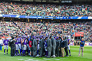 Minnesota Vikings team talk prior to kick off during the International Series match between Cleveland Browns and Minnesota Vikings at Twickenham, Richmond, United Kingdom on 29 October 2017. Photo by Jason Brown.