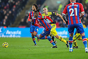 Crystal Palace forward Wilfried Zaha (11) heads upfield during the Premier League match between Crystal Palace and Southampton at Selhurst Park, London, England on 21 January 2020.