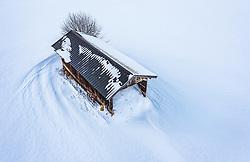 THEMENBILD - ein Heustadl in der Winterlandschaft, aufgenommen am 16. Januar 2019 in Kaprun, Oesterreich // a hay barn in the winter landscape in Kaprun, Austria on 2019/01/15. EXPA Pictures © 2019, PhotoCredit: EXPA/ JFK