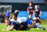 Rugby Union - 2017 Women's Rugby World Cup (WRWC) - Pool B: USA vs. Italy<br /> <br /> USA's Alev Kelter is tackled by Italy's Sara Barratin , at Billings Park UCD, Dublin.<br /> <br /> COLORSPORT/KEN SUTTON