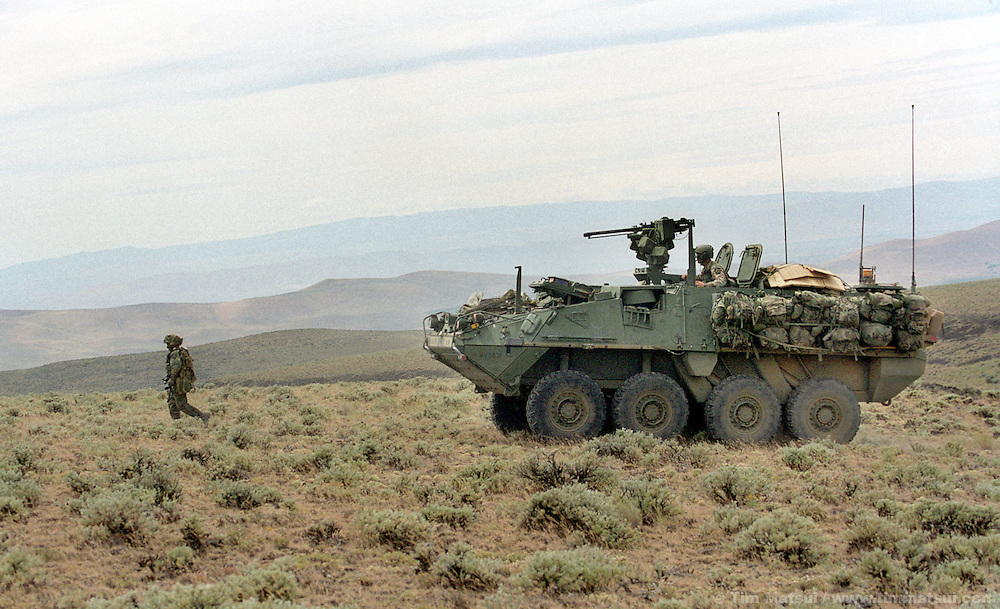 A soldier of A Company, 5th Battalion, 20th Infantry is followed on patrol by a Stryker medium weight armored vehicle at the Yakima Training Center in Washington on Thursday June 27, 2002. Alpha Company is the first to receive the $2.5 million Stryker which is the Army's first new armored vehicle in 14 years. It is meant to fill the gap between light infantry that uses only Humvees for transport and heavy armor like the M1 Abrahams tank. ..Able to withstand heavy machine gun rounds but not anti-tank rounds or rocket propelled grenades the Stryker's key assets are rapid transport of its nine man squad overland or by the main in-theater cargo plane, the C-130. The Stryker is also using the FBCB2 computer system allowing each vehicle to know friendly and enemy positions, real-time battlefield intelligence, email, gps mapping, and feeds from remote surveilance aircraft. It is also equiped with a .50 caliber machine gun or grenade launcher with video and thermal imaging operated remotely from within the vehicle...According to Army personel, if the battalion had been ready it would have been one of the first units into Afghanistan. As it is, it will represent the Army's new medium weight brigades in the Millenium Challenge excercises at Ft. Irwin, California, in late July. The live and computer simulated excercise will test the U.S. Military's concept for working together.
