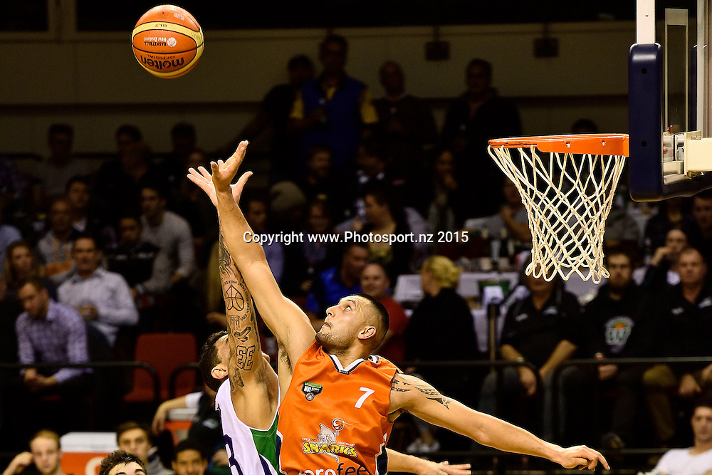 Duane Bailey (R of the Southland Sharks takes a pass with Puke Lenden of the Super City Rangers during the NBL semi final basketball match between Southland and Super City Rangers at the TSB Arena in Wellington on Saturday the 4th of July 2015. Copyright photo by Marty Melville / www.Photosport.nz