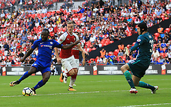 "Chelsea's Victor Moses scores his side's first goal of the game during the Community Shield at Wembley, London. PRESS ASSOCIATION Photo. Picture date: Sunday August 6, 2017. See PA story SOCCER Community Shield. Photo credit should read: Nigel French/PA Wire. RESTRICTIONS: EDITORIAL USE ONLY No use with unauthorised audio, video, data, fixture lists, club/league logos or ""live"" services. Online in-match use limited to 75 images, no video emulation. No use in betting, games or single club/league/player publications."