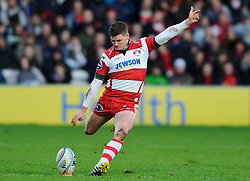 Gloucester Fly-Half (#10) Freddie Burns kicks a Penalty during the first half of the match - Photo mandatory by-line: Rogan Thomson/JMP - Tel: Mobile: 07966 386802 15/12/2012 - SPORT - RUGBY - Kingsholm Stadium - Gloucester. Gloucester Rugby v London Irish - Amlin Challenge Cup Round 4.