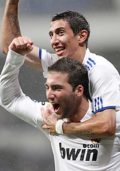 03.10.2010, Estadio Santiago Bernabeu, Madrid, ESP, Primera Divison, Real Madrid vs Deportivo de La Coruna, im Bild Real Madrid's Gonzalo Higuain celebrates with Angel Di Maria, EXPA Pictures © 2010, PhotoCredit: EXPA/ Alterphotos/ Alvaro Hernandez