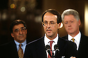Erskine Bowles is announced as the new chief of Staff replacing outgoing Leon Panetta at the White House November 11, 1996 in Washington, DC.