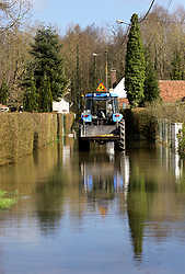 12 March 2020. Beaumerie St Martin, Pas de Calais, France.<br /> Following months of record rainfalls, the Canche River near Montreuil Sur Mer burst its banks in Beaumerie St Martin flooding local homes. The river last flooded in 2013, however residents claim they have never seen it as bad as this.<br /> Photo©; Charlie Varley/varleypix.com
