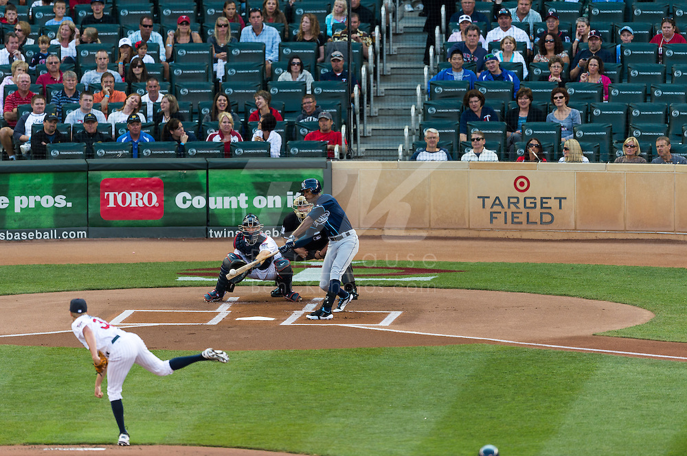 B.J. Upton (2) of the Tampa Bay Rays bats during a game against the Minnesota Twins on August 10, 2012 at Target Field in Minneapolis, Minnesota.  The Rays defeated the Twins 12 to 6.  Photo: Ben Krause