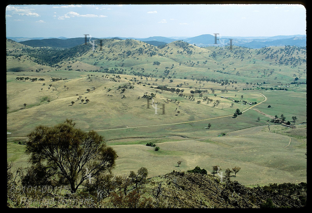 Farms and tree dot valley in Honeysuckle Range of Tumut District where summer bakes the land; NSW Australia