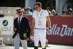 Menezes Eduardo (BRA) with chef d'equipe Maurice Bonneau<br /> Furusiyya FEI Nations Cup Jumping Final <br /> CSIO Barcelona 2013<br /> © Dirk Caremans