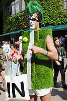 Tennis - 2019 Wimbledon Championships - Week Two, Monday (Day Seven)<br /> <br /> Women's Singles, Fourth Round: Johanna Konta (GBR) v Petra Kvitova (CZE)<br /> <br /> Tennis fan in Tennis attire<br /> <br /> COLORSPORT/ANDREW COWIE
