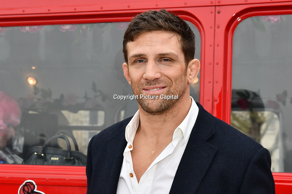 Alex Reid attend Celeb Bri Tea, on board the BB Bakery bus on 22 March 2019, London, UK.